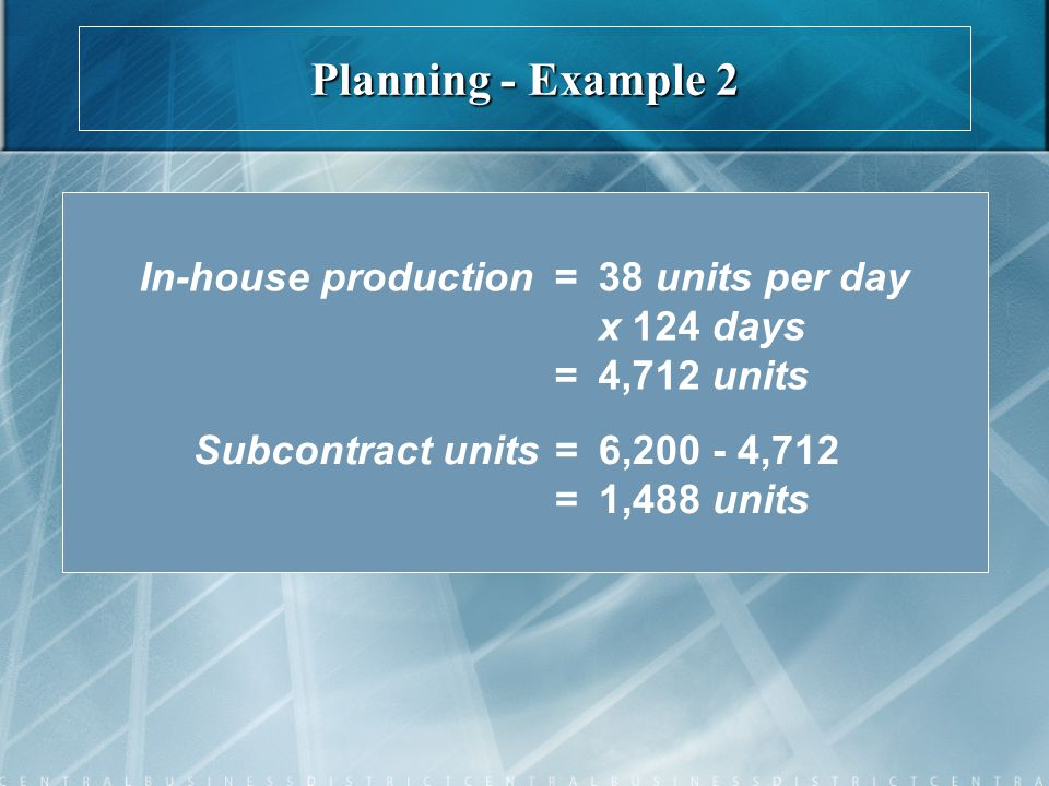 Planning - Example 2 In-house production = 38 units per day x 124 days