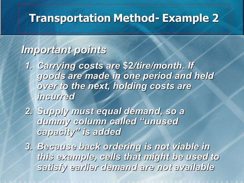 Transportation Method- Example 2