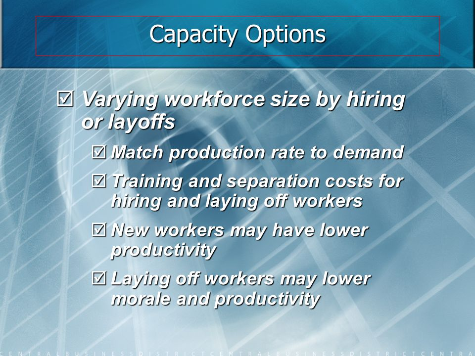 Capacity Options Varying workforce size by hiring or layoffs