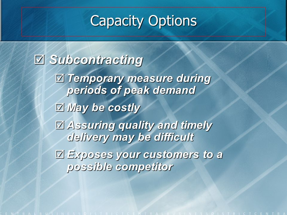 Capacity Options Subcontracting