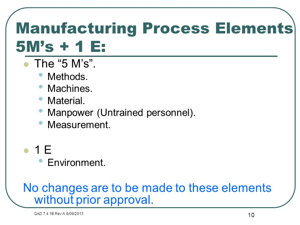 Manufacturing Process Elements 5M's + 1 E: