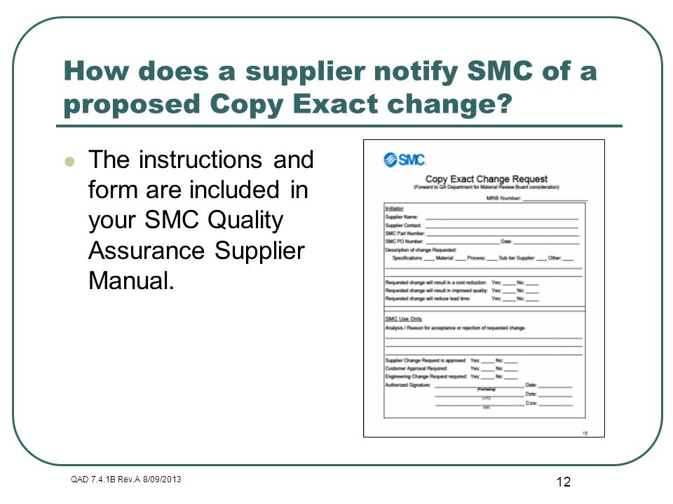 How does a supplier notify SMC of a proposed Copy Exact change