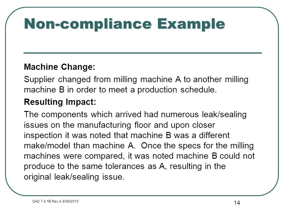 Non-compliance Example