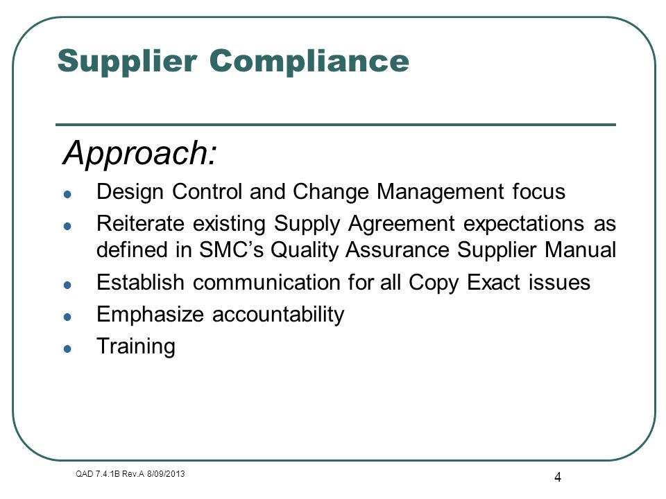 Approach: Supplier Compliance