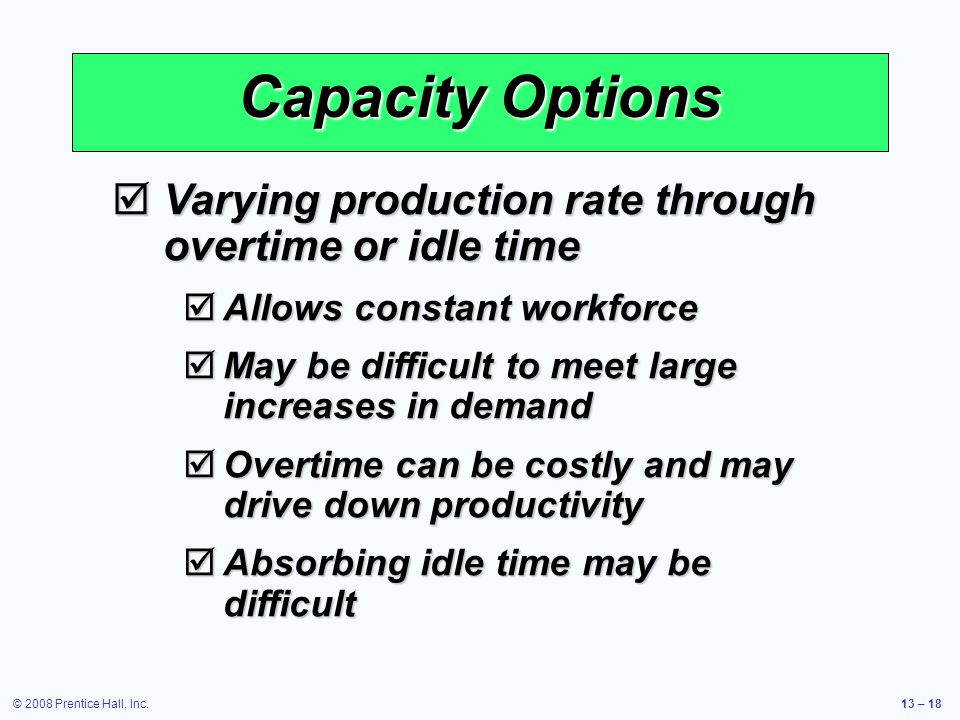 Capacity Options Varying production rate through overtime or idle time