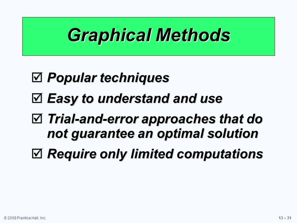Graphical Methods Popular techniques Easy to understand and use