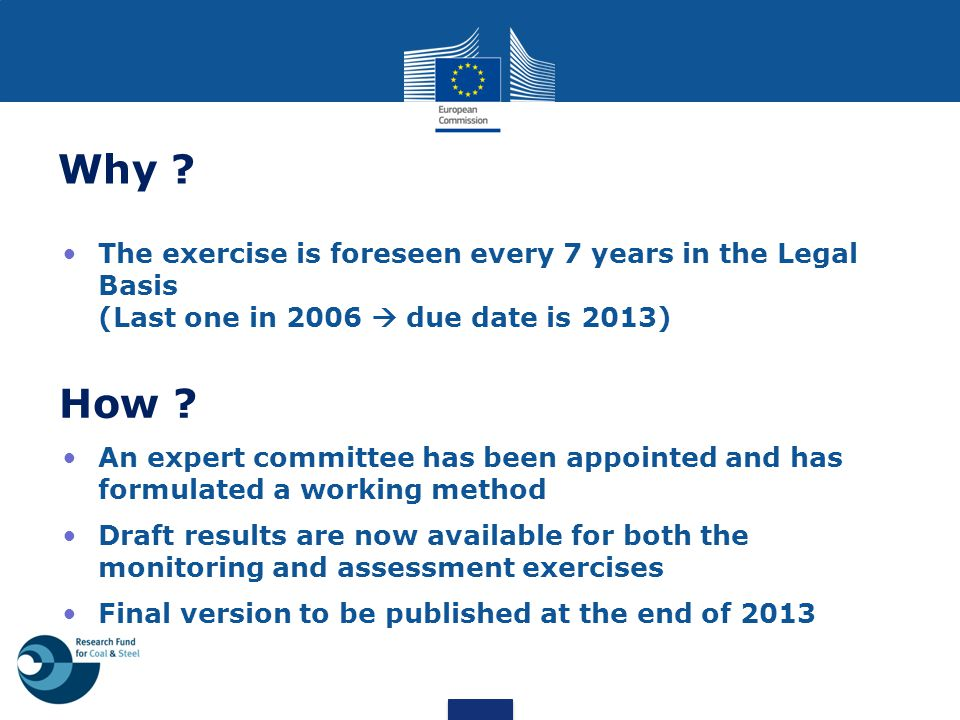 Why The exercise is foreseen every 7 years in the Legal Basis (Last one in 2006  due date is 2013)