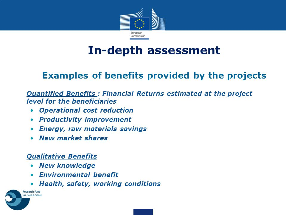 In-depth assessment Examples of benefits provided by the projects