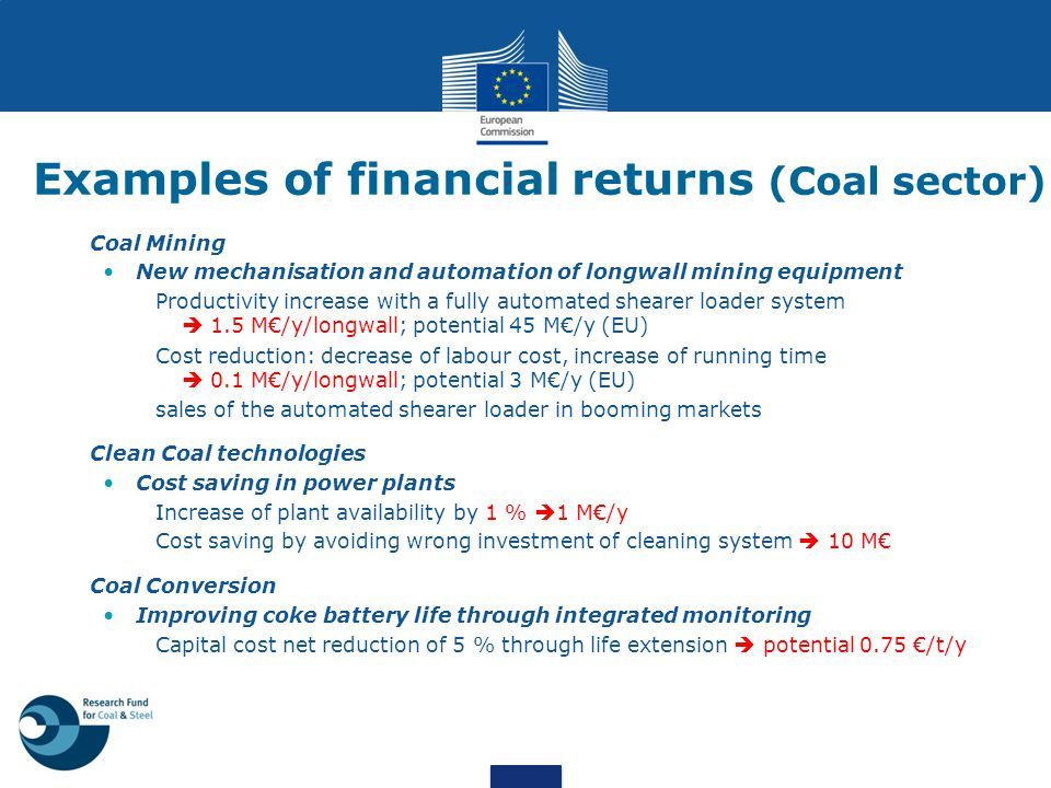 Examples of financial returns (Coal sector)