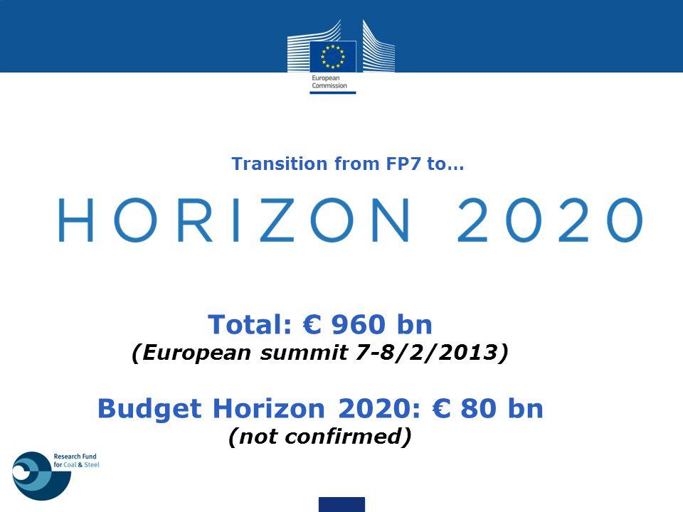 Total: € 960 bn Budget Horizon 2020: € 80 bn