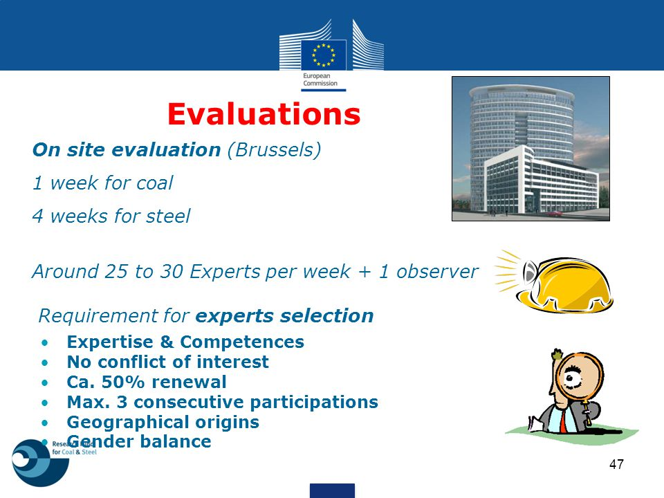 Evaluations On site evaluation (Brussels) 1 week for coal