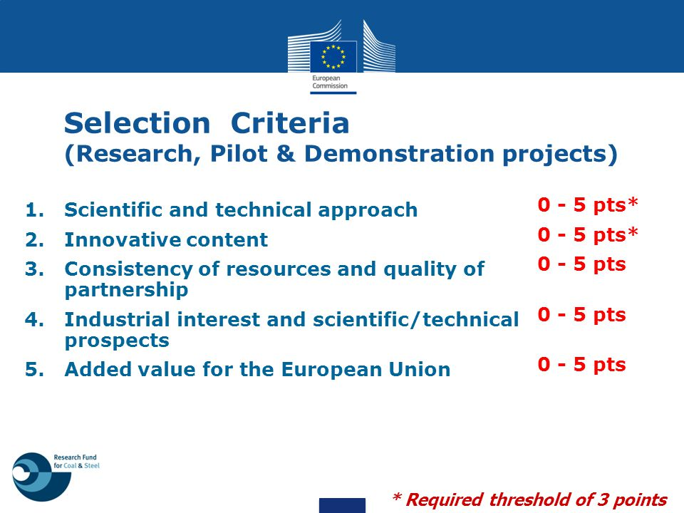 Selection Criteria (Research, Pilot & Demonstration projects)