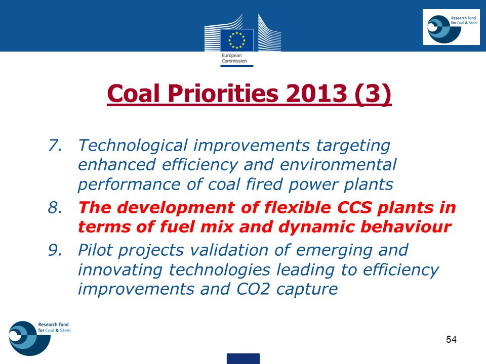 Coal Priorities 2013 (3) 7. Technological improvements targeting enhanced efficiency and environmental performance of coal fired power plants.