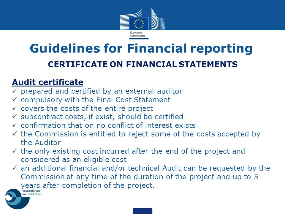 Guidelines for Financial reporting