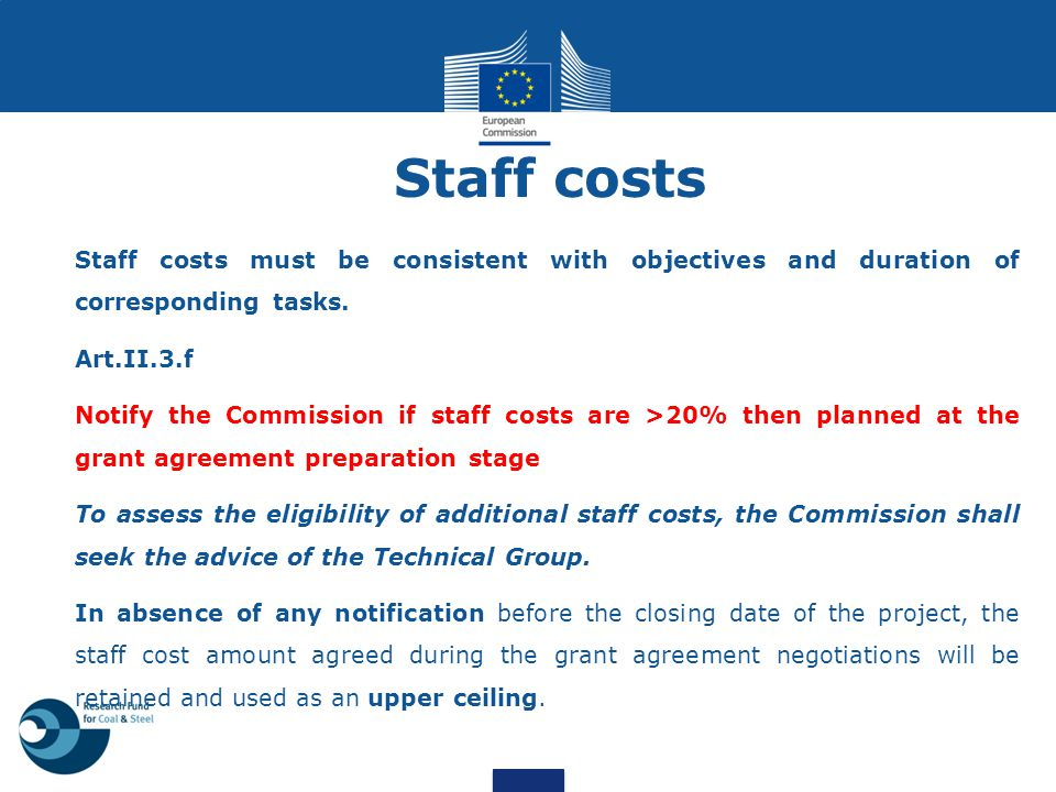 Staff costs Staff costs must be consistent with objectives and duration of corresponding tasks. Art.II.3.f.