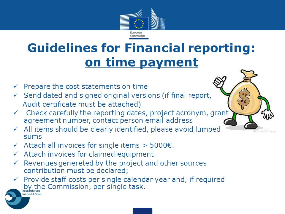Guidelines for Financial reporting: on time payment
