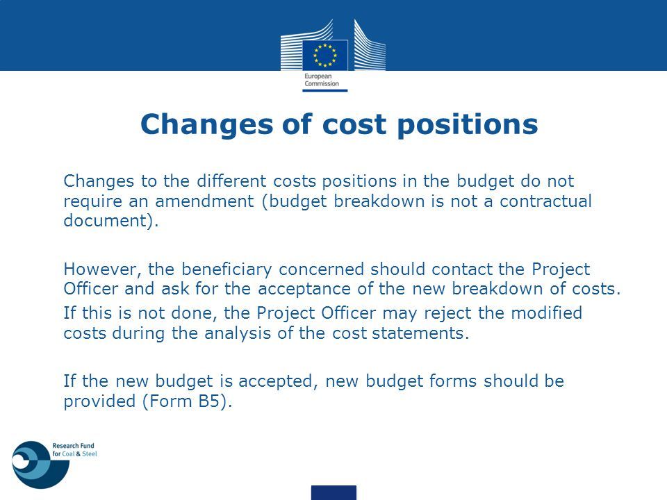 Changes of cost positions