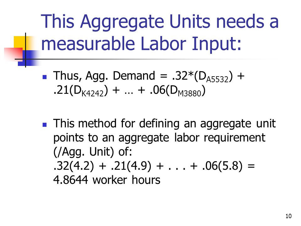 This Aggregate Units needs a measurable Labor Input: