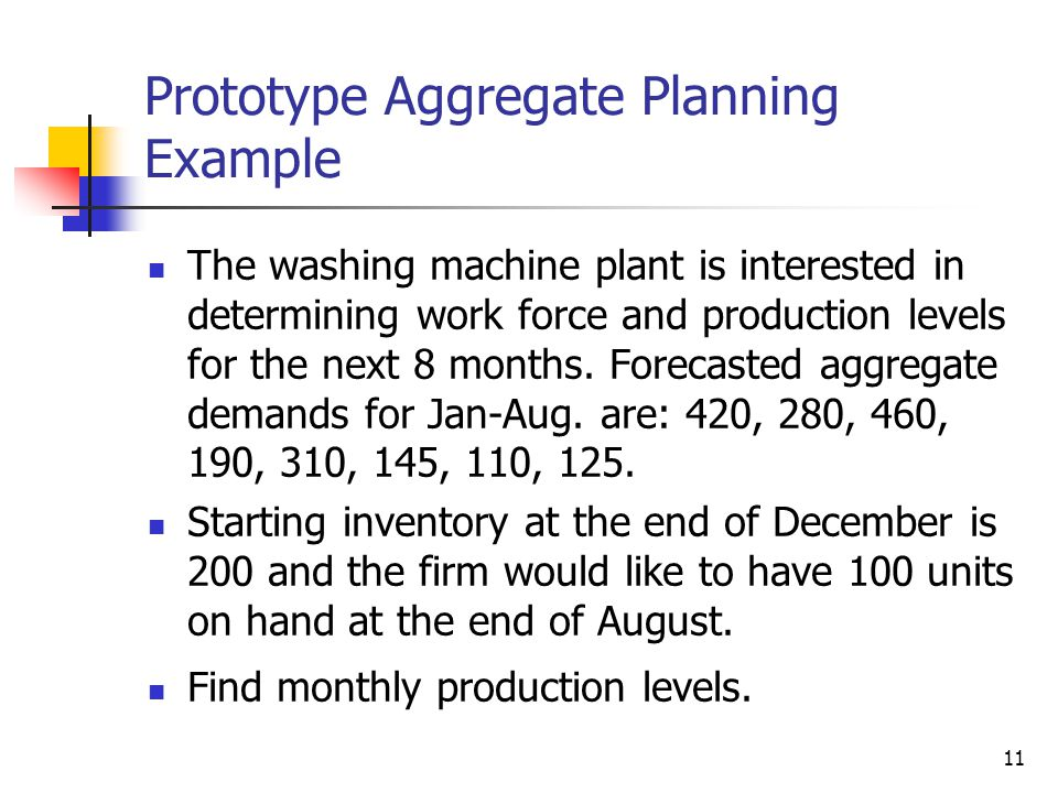 Prototype Aggregate Planning Example