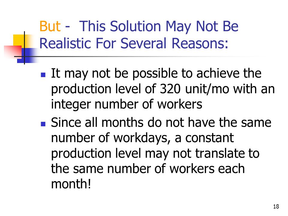 But - This Solution May Not Be Realistic For Several Reasons: