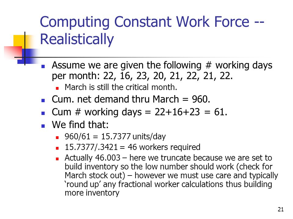 Computing Constant Work Force -- Realistically