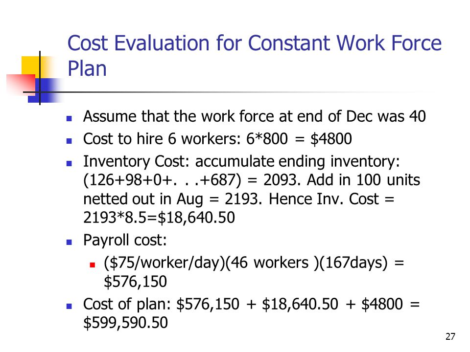 Cost Evaluation for Constant Work Force Plan