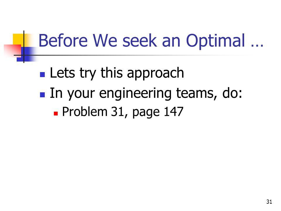 Before We seek an Optimal …