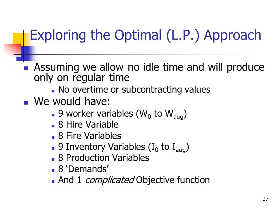 Exploring the Optimal (L.P.) Approach