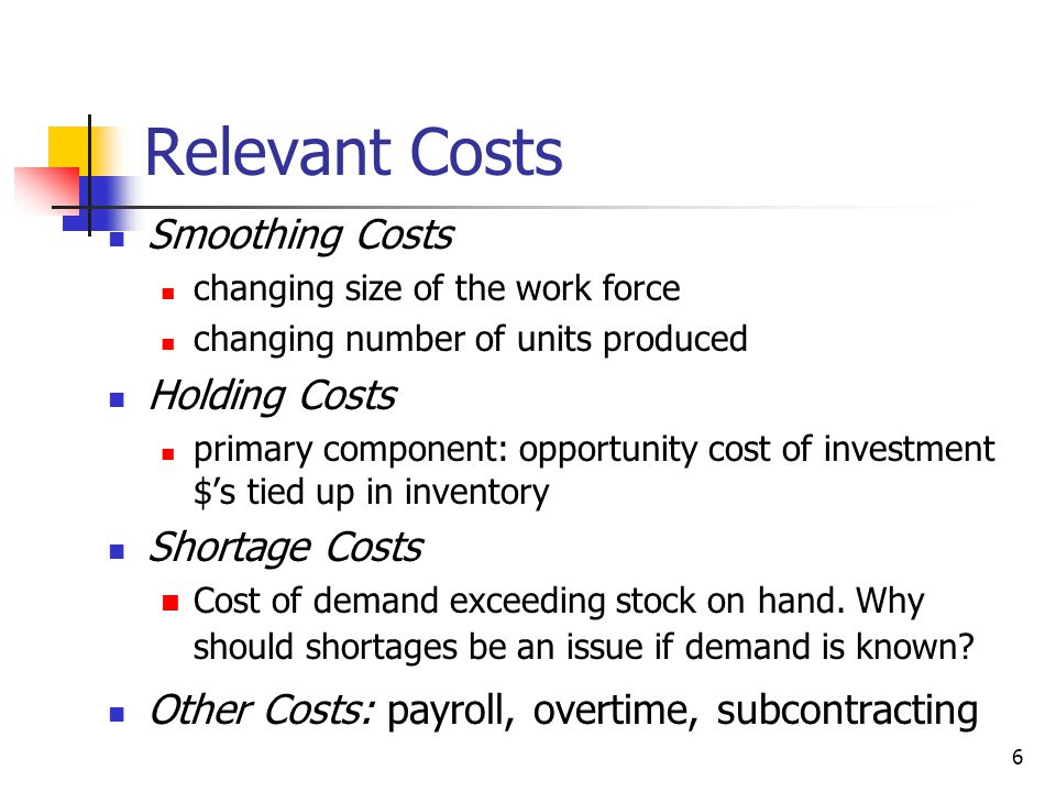 Relevant Costs Smoothing Costs Holding Costs Shortage Costs