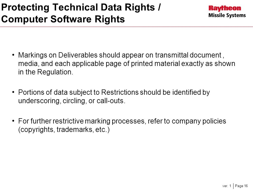 Protecting Technical Data Rights / Computer Software Rights