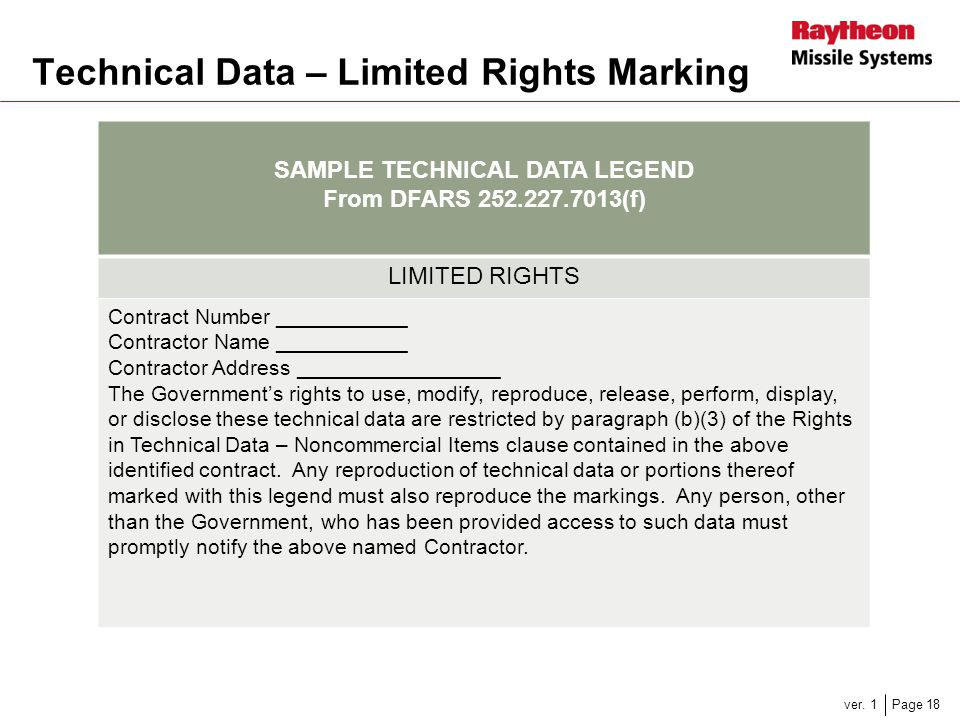 Technical Data – Limited Rights Marking