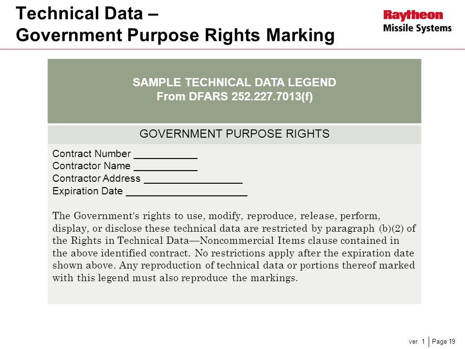 Technical Data – Government Purpose Rights Marking