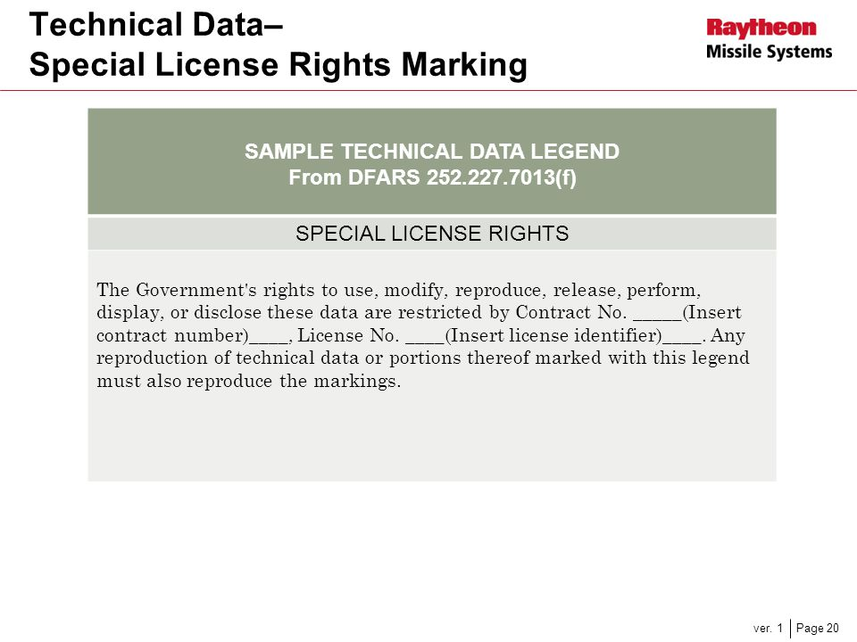 Technical Data– Special License Rights Marking