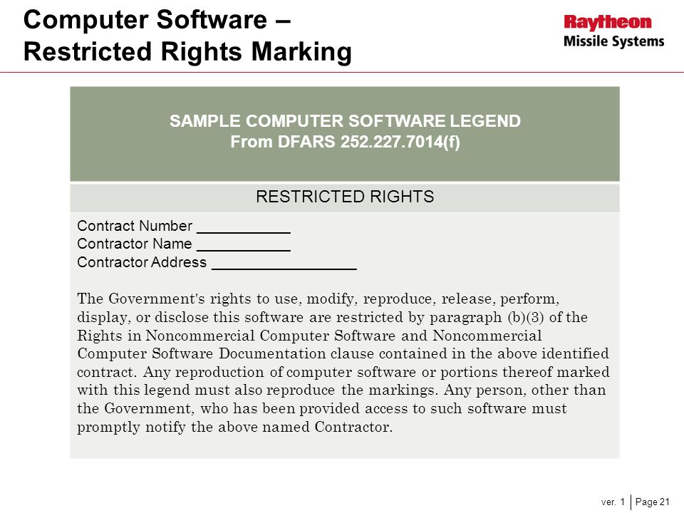 Computer Software – Restricted Rights Marking