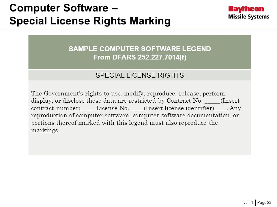 Computer Software – Special License Rights Marking