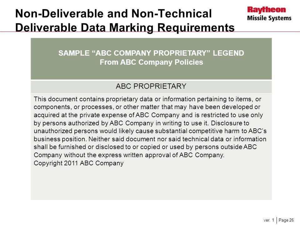 SAMPLE ABC COMPANY PROPRIETARY LEGEND From ABC Company Policies