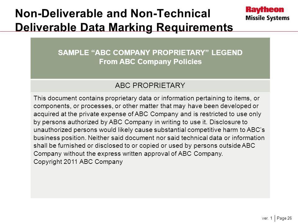 SAMPLE ABC COMPANY PROPRIETARY LEGEND From ABC Company Policies