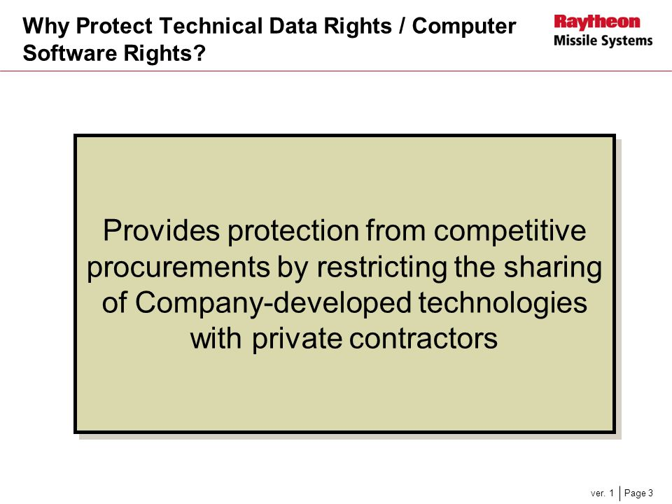Why Protect Technical Data Rights / Computer Software Rights