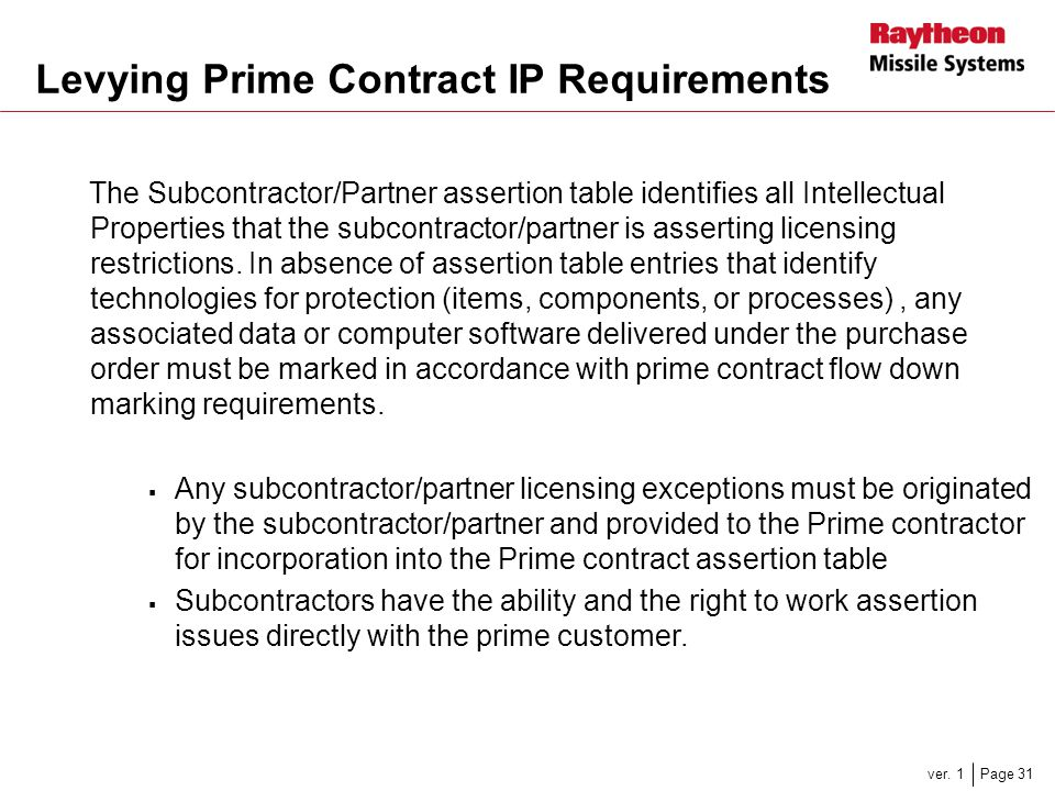 Levying Prime Contract IP Requirements