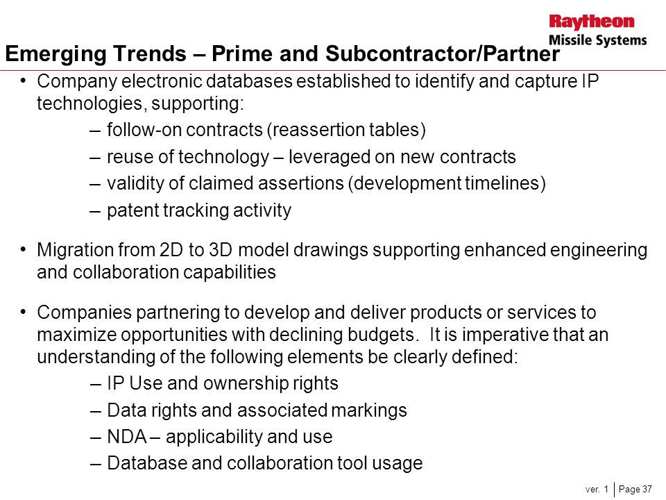Emerging Trends – Prime and Subcontractor/Partner