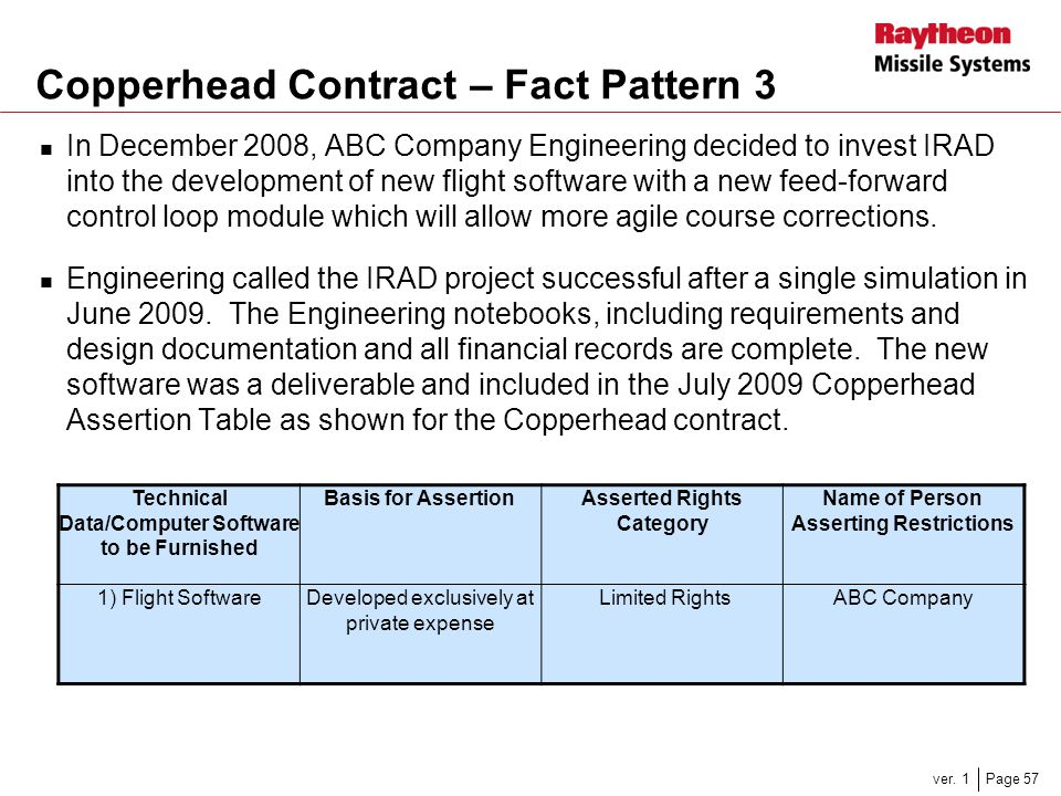 Copperhead Contract – Fact Pattern 3
