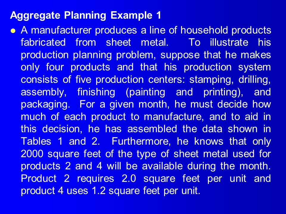 Aggregate Planning Example 1