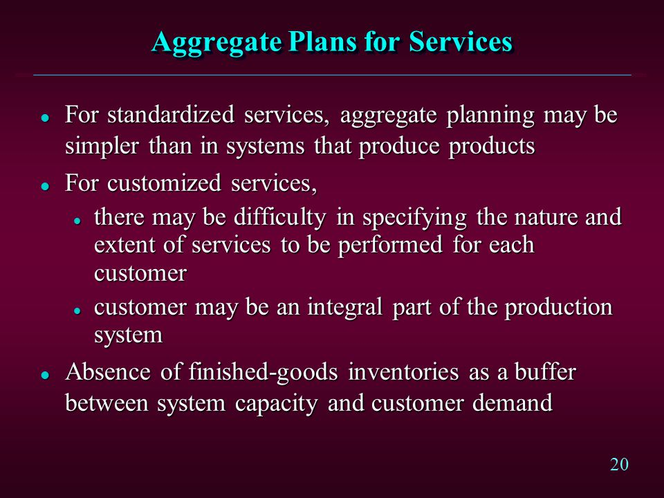 Aggregate Plans for Services
