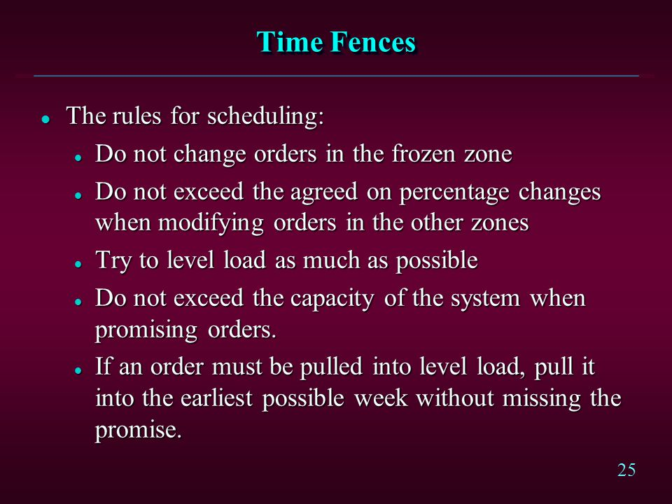 Time Fences The rules for scheduling: