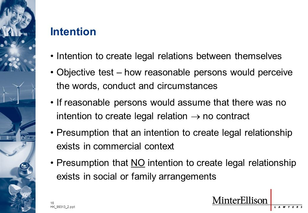 Intention Intention to create legal relations between themselves