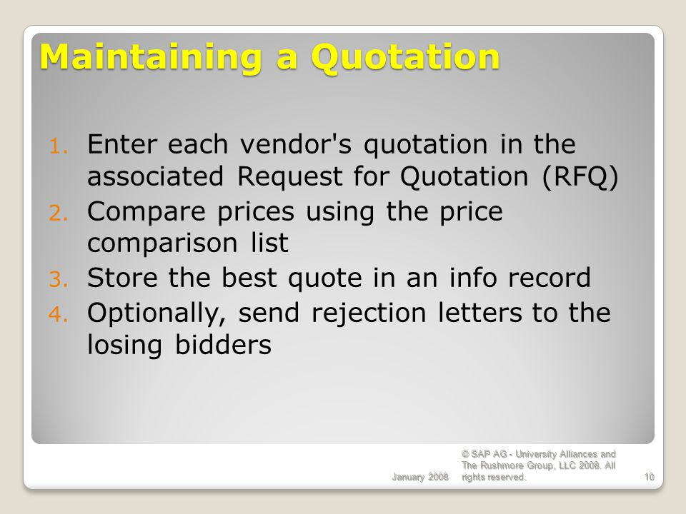 Maintaining a Quotation