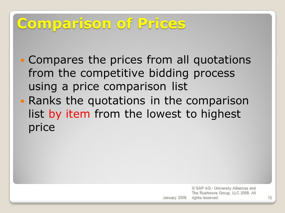 ECC 6.0 Comparison of Prices. January 2008.