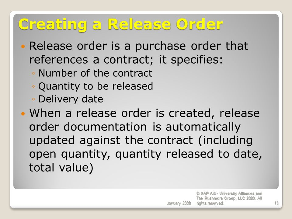 Creating a Release Order