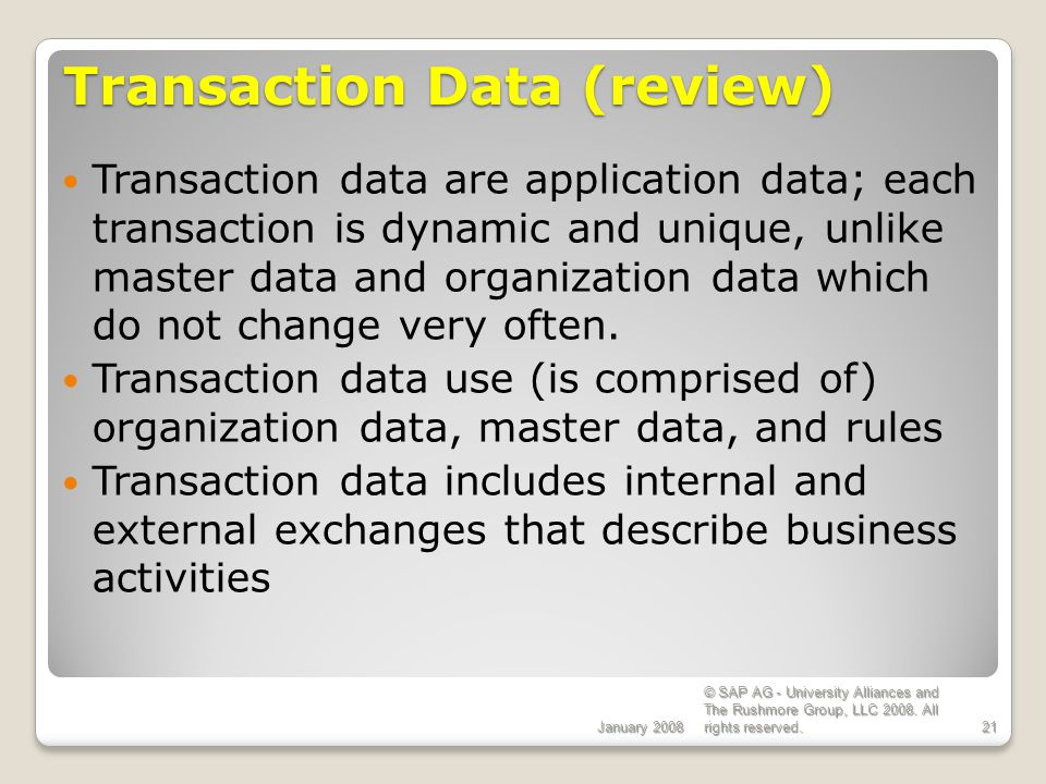 Transaction Data (review)