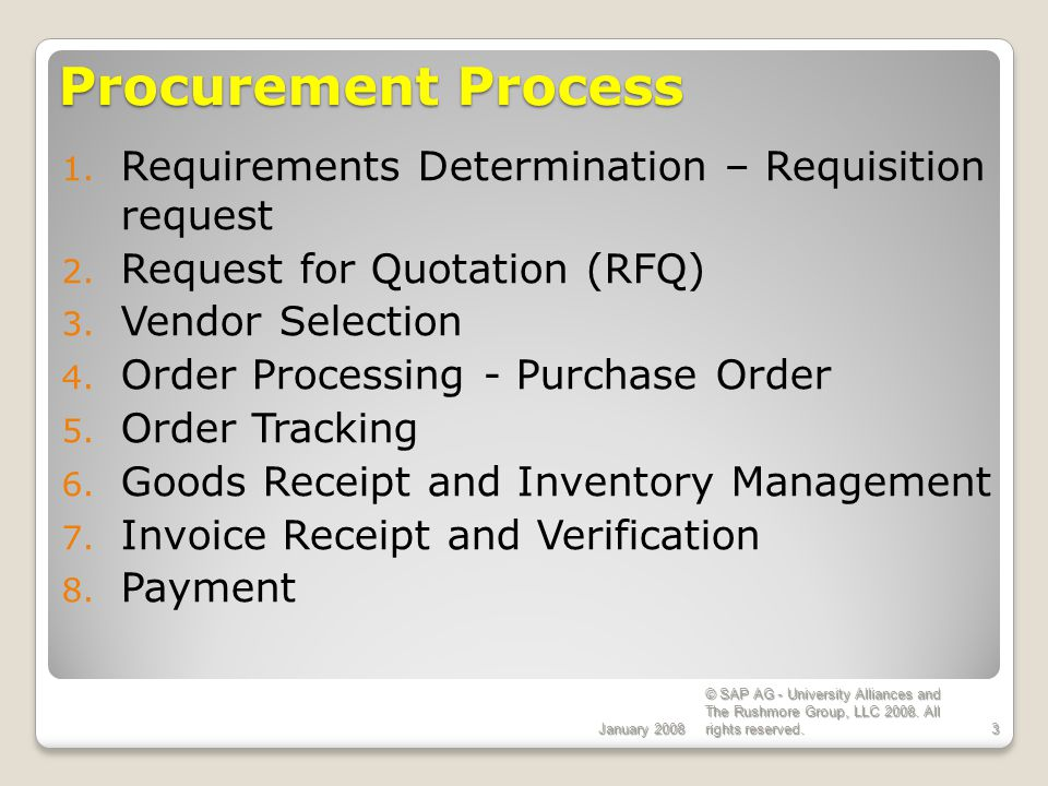 Procurement Process Requirements Determination – Requisition request